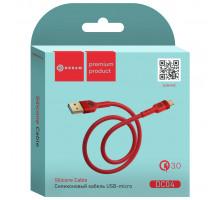 Кабель MicroUSB DC04 QC3.0 1M (силиконовый) красный DREAM (скидка 20 процентов)