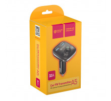 FM-трансмиттер BLUETOOTH A5 (SDHC, 2USB 3.1A , HF, LED) v2 черно-серый DREAM (скидка 10 процентов)